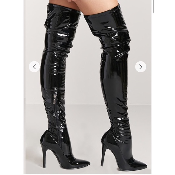a9e2600fbac Forever 21 Shoes - Faux Patent Leather Thigh High Boots